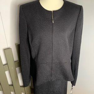 Tahari Peplum Bi-Stretch Skirt Suit Black 16 New